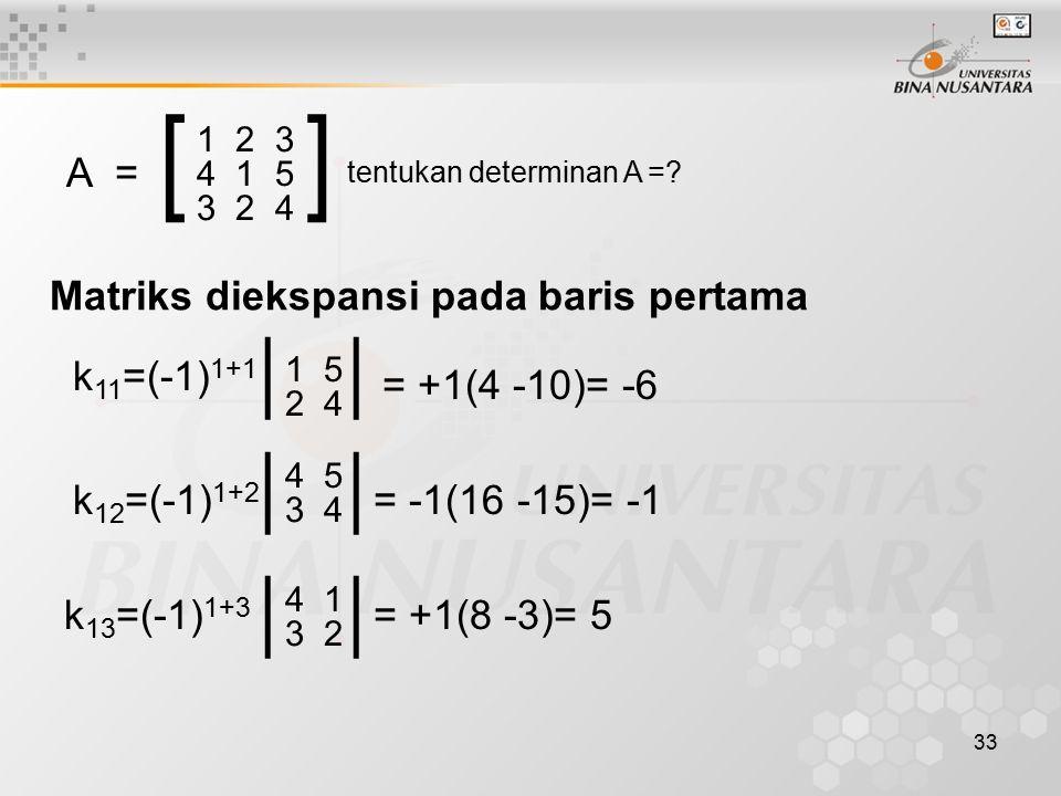 [ ] | | | | | | A = k11=(-1)1+1 = +1(4 -10)= -6 k12=(-1)1+2